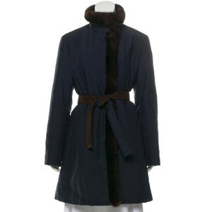 Loro Piana Navy Mink-Trimmed Belted Coat 48/12